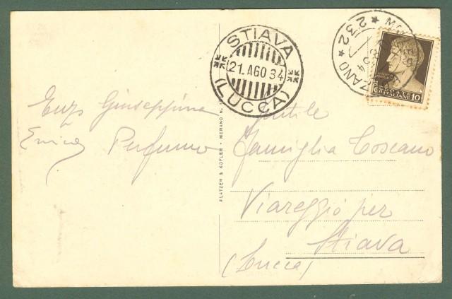 Trentino. MERANO, Bolzano. Corso Diaz. Cartolina d'epoca viaggiata nel 1934.