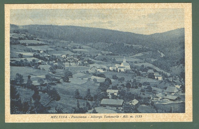 Trentino. MELTINA, Bolzano. Panorama. Cartolina d'epoca viaggiata nel 1939.