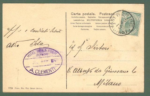 Lombardia. GIOGO DI STELVIO, Bormio, Sondrio. Cartolina d'epoca viaggiata nel 1910.