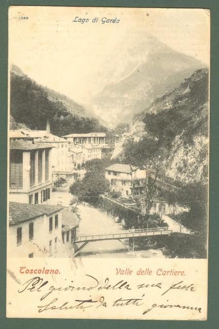 Lombardia. TOSCOLANO, Brescia. Valle delle Cartiere. Cartolina d'epoca viaggiata nel 1904.