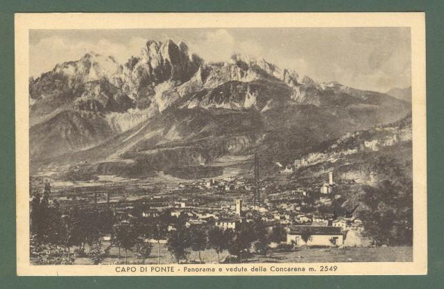 Lombardia. CAPO DI PONTE, Brescia. Panorama. Cartolina d'epoca viaggiata nel 1943.