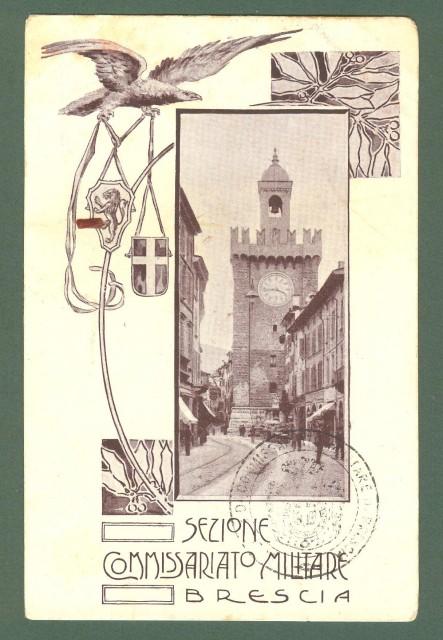 Lombardia. BRESCIA. Sezione Commissariato Militare. Cartolina d'epoca non viaggiata, inizio 1900.