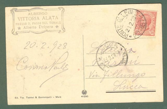 Lombardia. PASSO TONALE, Brescia. Albergo Vittoria e sciatori. Cartolina d'epoca viaggiata nel 1929.