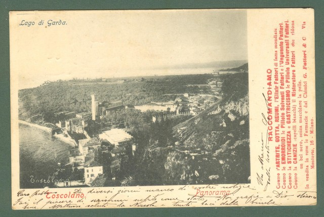 Lombardia. TOSCOLANO, Brescia. Panorama. Cartolina d'epoca viaggiata nel 1904.