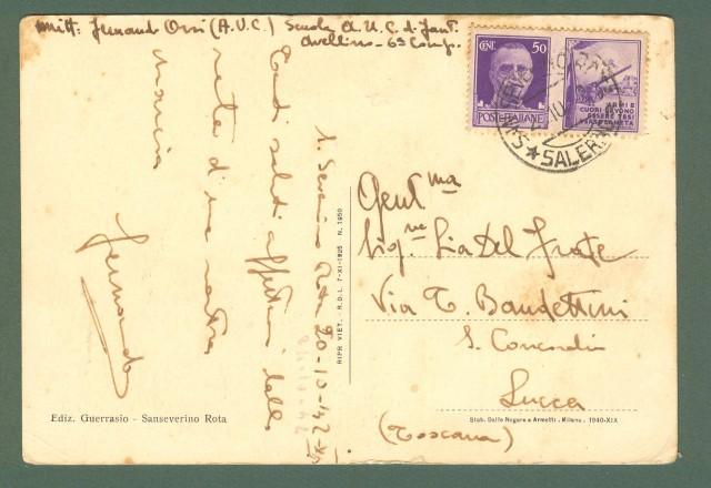 Campania. S. SEVERINO ROTA, Salerno. Cartolina d'epoca viaggiata nel 1942