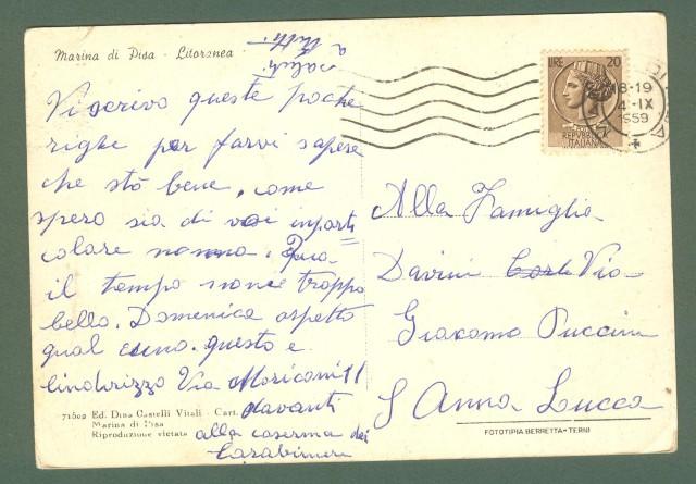 Toscana. MARINA DI PISA, Pisa. Cartolina d'epoca viaggiata nel 1959.