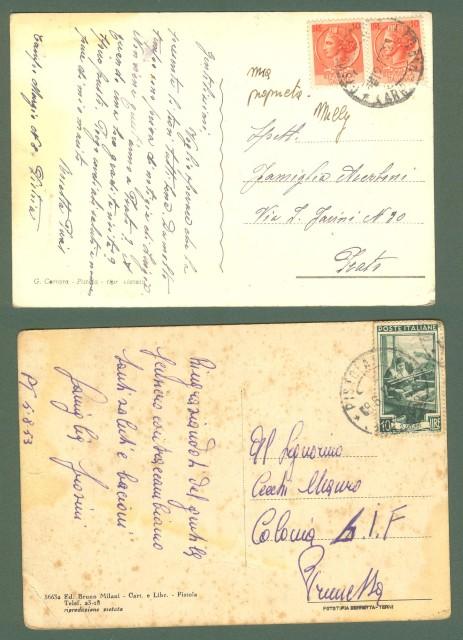 Toscana. PISTOIA. Due cartoline d'epoca viaggiate nel 1953. Una ingiallita.