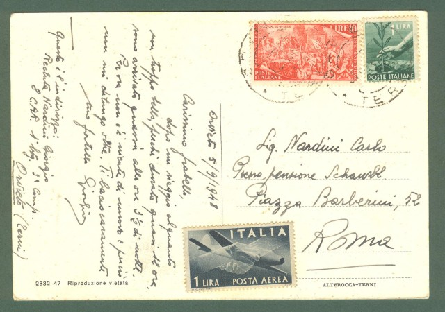 Umbria. ORVIETO, Terni. Saluti dall'8'° C.A.R.. Cartolina d'epoca viaggiata nel 1948.