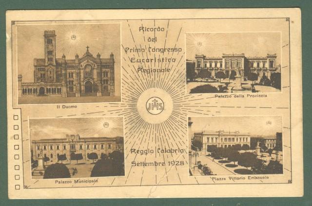 Calabria. REGGIO CALABRIA. Primo Congresso Eucaristico Regionale. Cartolina d'epoca viaggiata nel 1928.