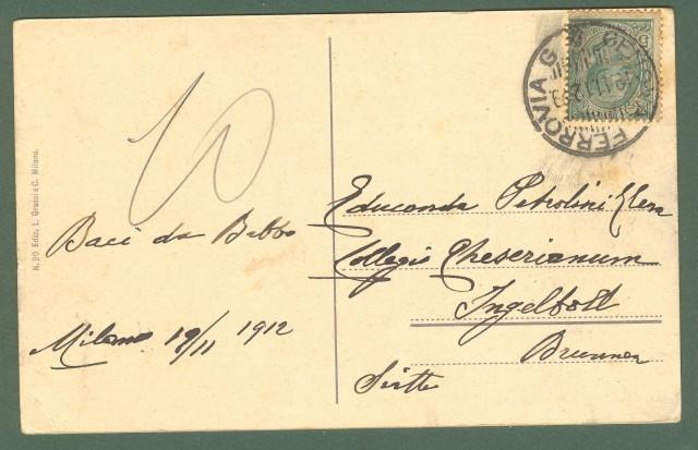 Lombardia. MILANO. Via Senato e naviglio. Cartolina d'epoca viaggiata nel 1912