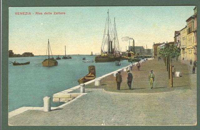 Veneto. VENEZIA. Riva delle Zattere. Cartolina d'epoca viaggiata nel 1909.