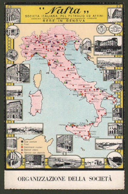 NAFTA. Società Italiana del Petrolio con sede in Genova. Cartolina d'epoca non viaggiata, circa 1920.