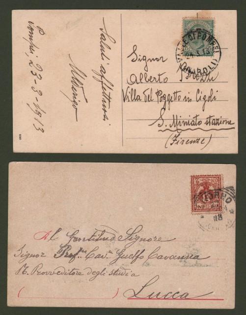 Campania. VALLE DI POMPEI, Napoli. 2 cartoline d'epoca viaggiate nel 1904 e 1913.