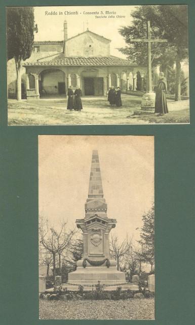 Toscana. RADDA IN CHIANTI, Siena. Due cartoline d'epoca non viaggiata, circa 1925