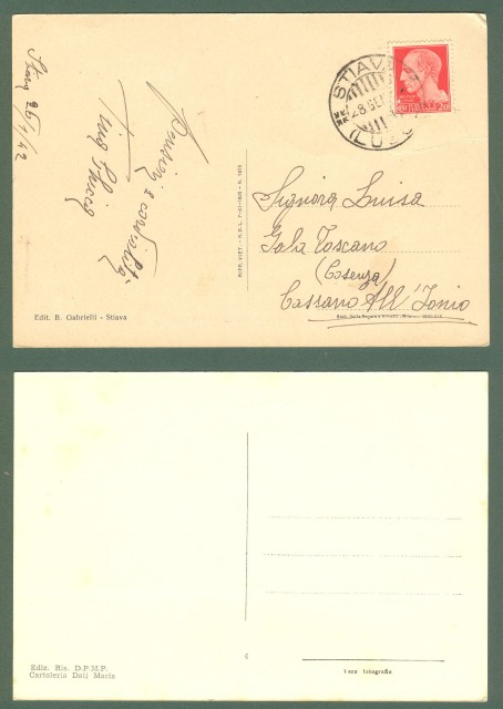Toscana. STIAVA, Lucca. Due cartoline d'epoca (una viaggiata nel 1942).
