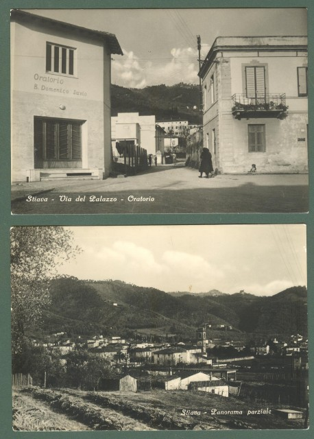 Toscana. STIAVA, Lucca. Due cartoline d'epoca viaggiate nel 1956.