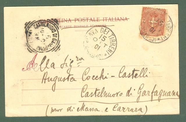 Campania. CAVA DEI TIRRENI, Salerno. Viale alla Stazione. Cartolina d'epoca viaggiata nel 1901.