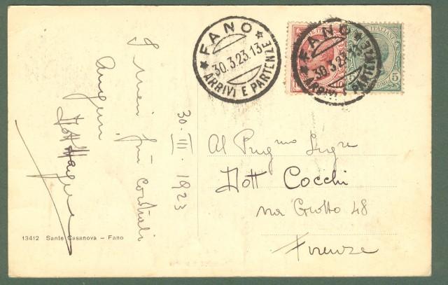 Marche. FANO. Pesaro - Urbino. Piazza XX Settembre. Cartolina d'epoca viaggiata nel 1923.
