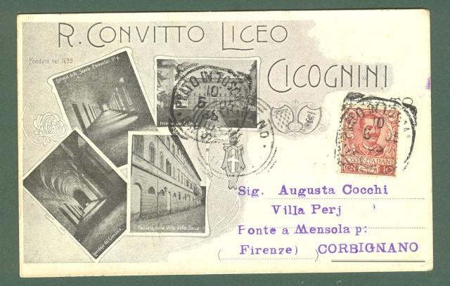 Toscana. PRATO. Collegio Cicognini. Cartolina d'epoca viaggiata nel 1905.