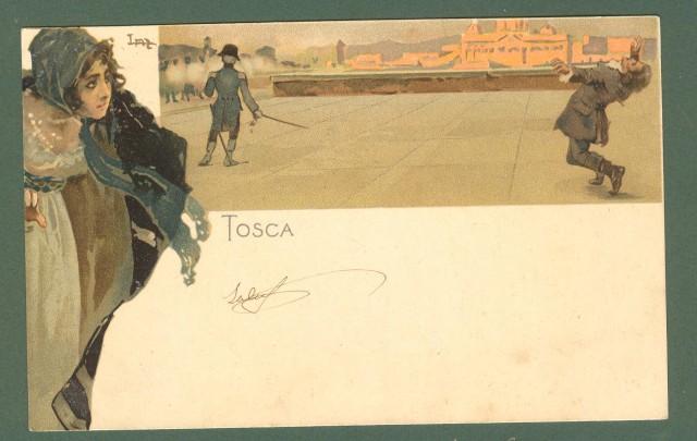 Illustratori. METLICOVITZ LEOPOLDO. Tosca, Puccini. Cartolina d'epoca viaggiata in busta, primi 1900.