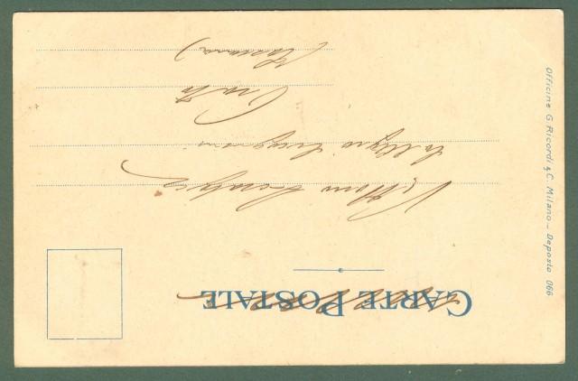 Illustratori. METLICOVITZ LEOPOLDO. Tosca, Puccini. Cartolina d'epoca viaggiata in busta, circa 1901.