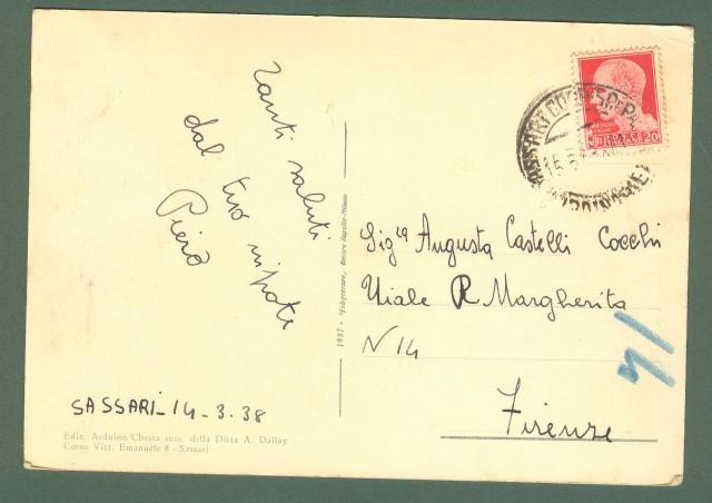 Sardegna. SASSARI. Corso Emanuele. Cartolina d'epoca viaggiata nel 1938.