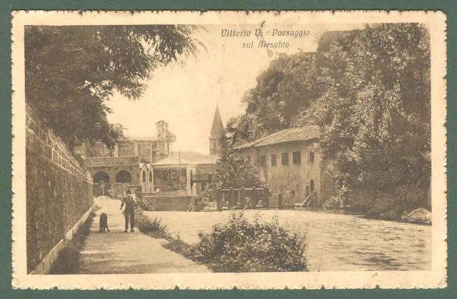 Veneto. VITTORIO VENETO, Treviso. Paesaggio sul Meschio. Cartolina d'epoca viaggiata nel 1919.