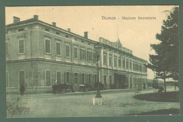 Veneto. VICENZA. Stazione ferroviaria. Cartolina d'epoca viaggiata nel 1918.