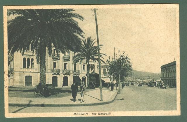 Sicilia. Messina. Via Garibaldi. Cartolina d'epoca viaggiata anni 1930.