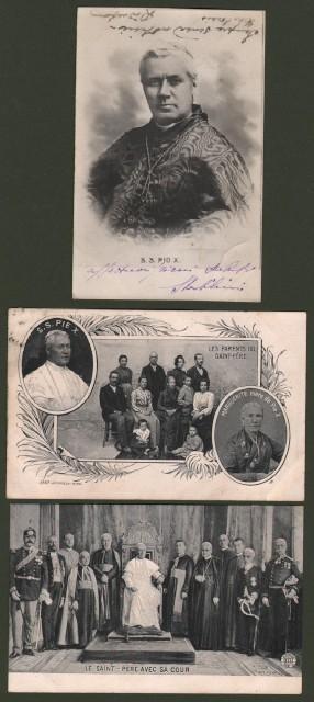 PAPA PIO X. Tre cartoline d'epoca viaggiate tra il 1903 ed il 1906.