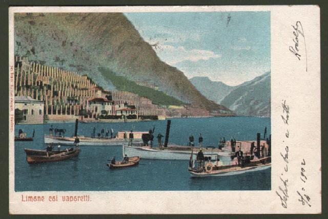 Lombardia. LIMONE COI VAPORETTI (Brescia). Cartolina d'epoca viaggiata nel 1902.
