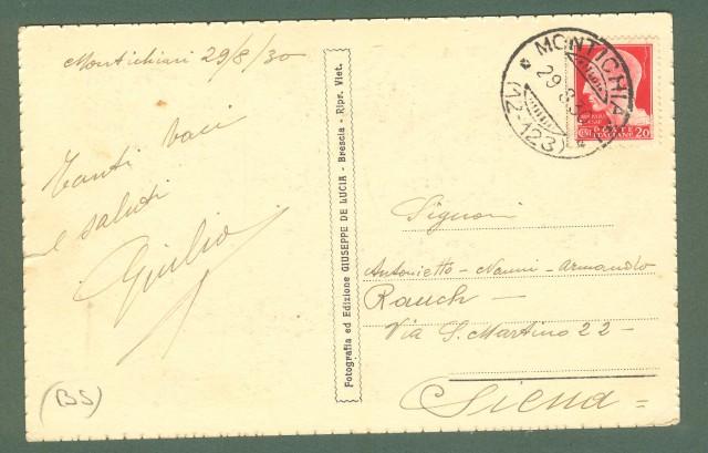 Lombardia. MONTICHIARI, Brescia. Castello Bonoris e Colle S. Pancrazio. Cartolina d'epoca viaggiata nel 1930.