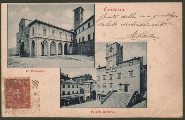 Toscana. CORTONA, Arezzo. Cartolina d'epoca viaggiata nel 1900.