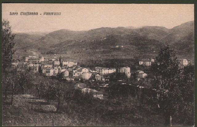 Toscana. LORO CIUFFENNA, Arezzo. Panorama. Cartolina d'epoca non viaggiata, circa 1930.