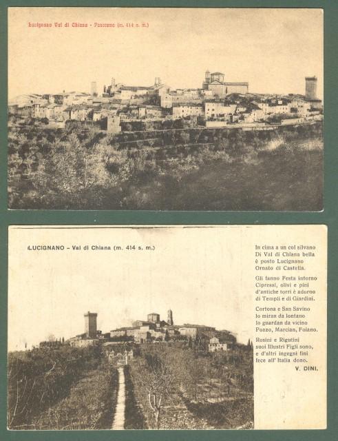 Toscana. LUCIGNANO, Arezzo. Due cartoline d'epoca non viaggiate, circa 1930.