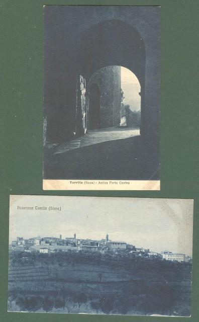 Toscana. TORRITA, Siena. Due cartoline d'epoca non viaggiate, circa 1925. Segni agli angoli dovute ad album.