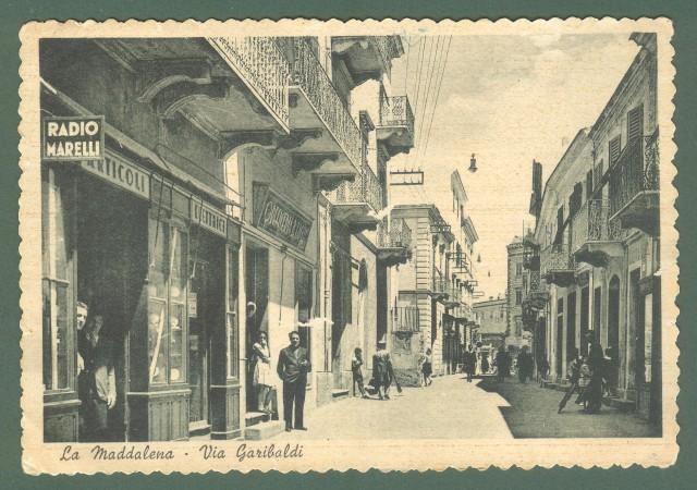 Sardegna. LA MADDALENA. Via Garibaldi. Cartolina d'epoca viaggiata nel 1941.