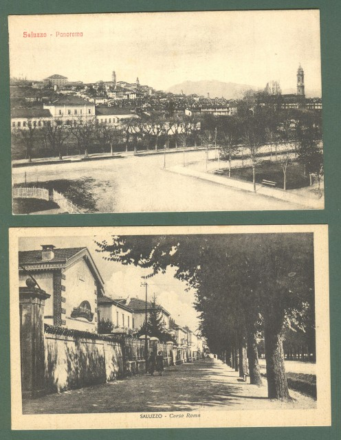 Piemonte. SALUZZO, Cuneo. Due cartoline d'epoca, una viaggiata nel 1948 (ma precedente), l'altra non viaggiata (anni '20).