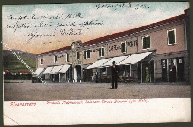 Lombardia. RIVANAZZANO, Pavia. Facciata Stabilimento balneare Terme Bianchi.