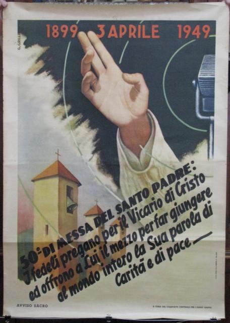MANIFESTO disegnato da Grilli per il 50'° anniversario di messa del Santo Padre