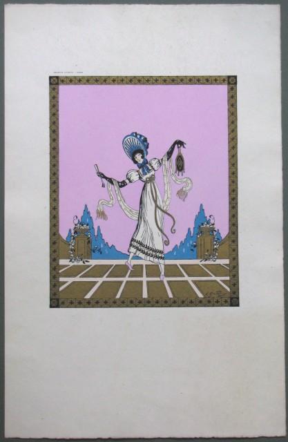 Pouchoir, realizzato da E. Gallois con tempere rosa, azzurra e dorata.