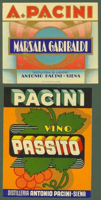 SIENA. DISTILLERIA PACINI. Due etichette policrome.