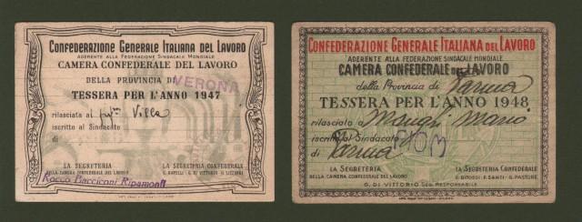 DUE TESSERE (anni 1947 e 1948) della Camera Confederale del Lavoro.