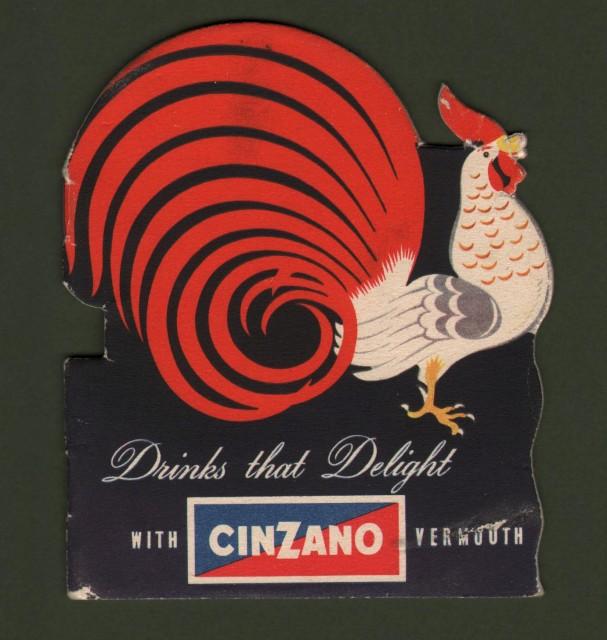VERMOUTH CINZANO. Opuscolo pubblicitario disegnato a colori da Mario Gros nel 1954.