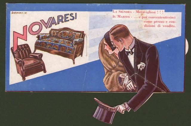 PUBBLICITA'. Cartoncino apribile pubblicitario della ditta (di poltrone e divani) Novaresi di Milano.