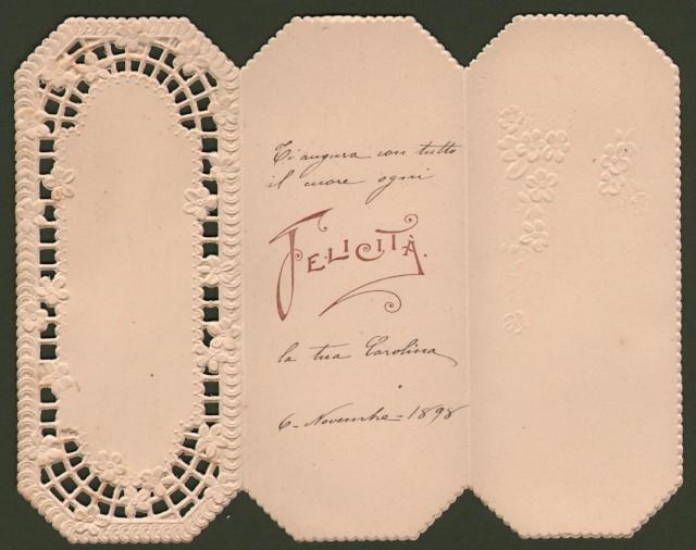 Biglietto augurale. Traforato e apribile. Inviato nel 1898.