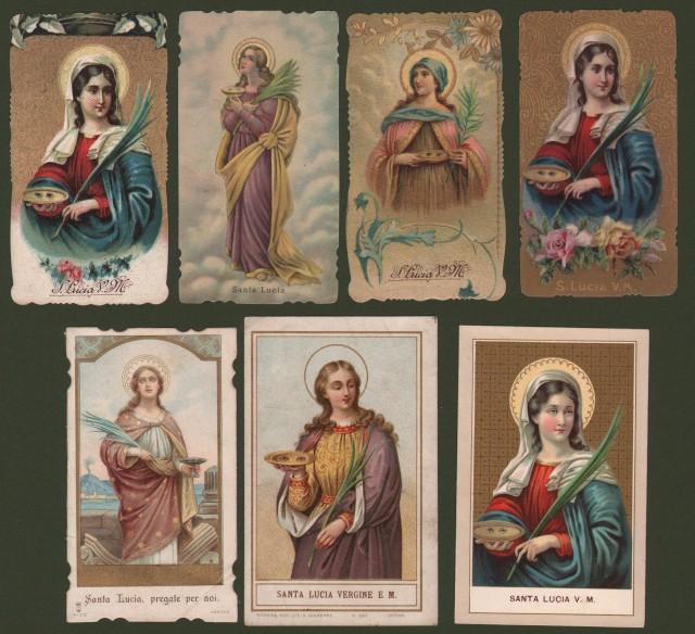 S. Lucia. 7 santini, holycards. Cromolitografie. Fine '800 - inizio '900.