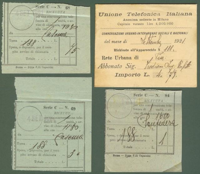 TELEFONO. Unione Telefonica Italiana. Rete Urbana di Pisa. Anno 1921.