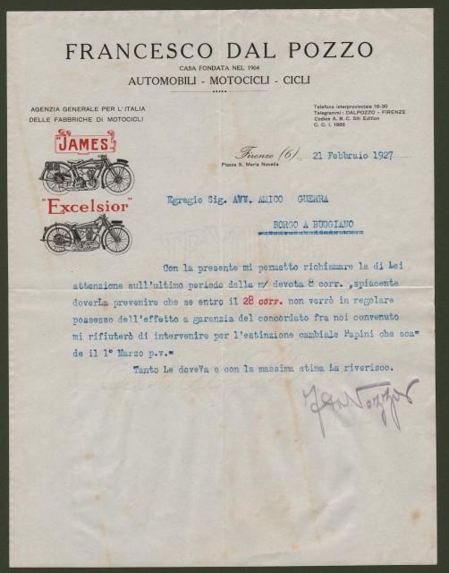 FIRENZE. Vecchia fattura 1927. FRANCESCO DAL POZZO. Automobili - Motocicli - Cicli.