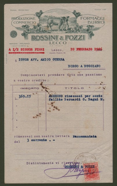 LECCO. Vecchia fattura (anno 1926), produzione e commercio FORMAGGI E BURRO ditta ROSSINI & POZZI.